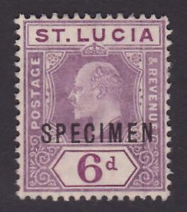 St Lucia. SG 73s, 6d dull purple, specimen. Mint, no gum.
