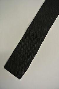 """Solid Black Skinny Slim Silk Trunk Tie 2"""" Wide 44"""" Long"""