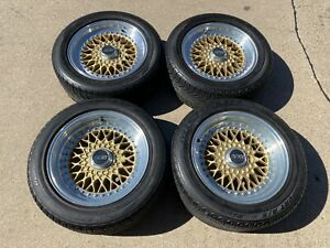 "16"" Ferrari 308 Bbs Rs028 Rs029 Wheels Gold 5x108 Staggered Rims Tires"