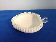 VINTAGE Fenton Silver Crest White Milk Glass Heart Shape Handled Bowl
