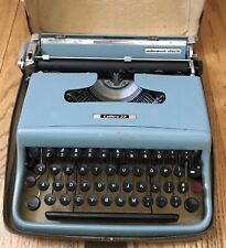Vintage Blue Lettera 22 Underwood Olivetti Portable Typewriter with Case Working
