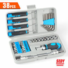 NEW 38 Pcs Screwdriver Set 1/4 Drive Bits Wrench Allen Hex Keys Socket Extension