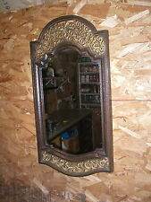 Mid Century Syroco Rose Rectangle Wall Mirror Gold Floral & Brown Plastic