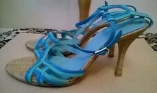 "NEXT Ladies size 6/39 blue and green leather strappy 4"" slim high heel sandles"