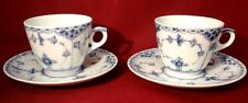 Royal Copenhagen BLUE FLUTED #719 Half Lace Demi Cup Saucer 1st Quality-Lot of 2