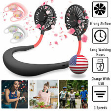 Portable Dual Cooling Sports Fan USB Rechargeable Neckband Lazy Neck Hanging Fan