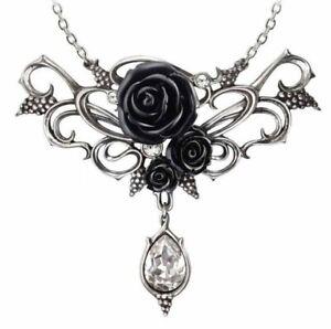 Alchemy England - Bacchanal Black Rose Necklace, Grapevine Gothic Love, Crystal