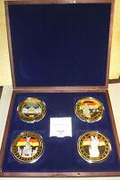 Gigant 4 Medaillen Einigkeit Recht Freiheit versilbert PP 70mm in Sammelbox !!!