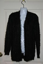 New womens Apt 9 black furry cardigan sweater sz XSmall