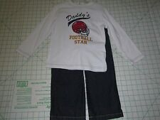 DADDY'S FOOTBALL STAR 2pc Long Sleeve Tee & Blue Jean Pants SIZE 4T   New