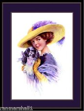 English Print Cavalier King Charles Spaniel Puppy Dog Victorian Lady Picture Art