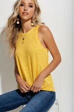 NWT Yellow Tank Top Waffle Knit Top Summer Tops Boutique Women's Clothing L