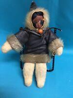 "Vintage Native American Eskimo Indian Doll Inuit Leather Real Seal Fur 7 1/2"""