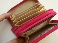 Buxton Accordion Double Zippered Wizard Leather Wallet,Hot Pink