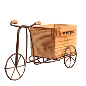 Tricycle Plant Stand Wooden Metal Flower Pot Bicycle Storage Rack Home Decor Acc