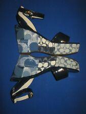 Coach Nalene Denim Patchwork Ankle Strap Platform Wedge Sandals 8 New $198