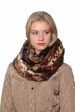 Leopard Faux Plush Scarf, Infinity Scarf, Fashion New Winter Warm Soft Fur Scarf