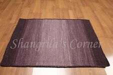 Accent Rug 100% Wool 2x3 Multi-use Textured Purple Ombre RUG Foyer Den Bath