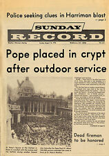 """Sunday Record Middletown NY 8-13-78 """"Pope Paul VI laid to rest"""" Complete Paper"""