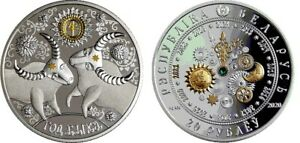 Belarus 20 Rubles 2020 Year of the Ox 1 oz Silver+Gold Coin