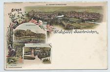 Litho St. Johann Saarbrücken, Spichernberg, Ehrental ungel. 1904
