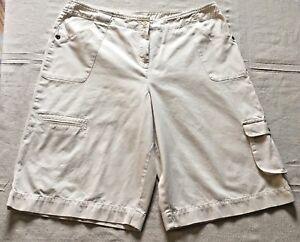 J Jill Bermuda Cargo Shorts Womens 18P Long Off White Beige 100% Cotton Pockets