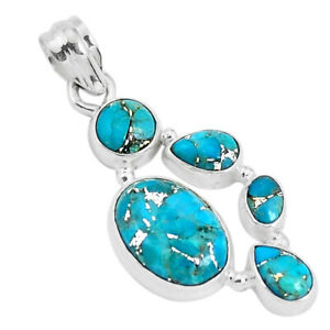 11.02cts Blue Copper Turquoise 925 Sterling Silver Pendant Jewelry P29688