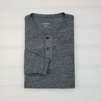 J Crew Small Henley Shirt Gray Cotton Blend Heather Heathered Size S Mens G8215