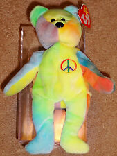 1996 Retired Ty Beanie Baby Peace Bear Original Collectible with Tag Errors