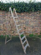 Vintage 8 tread wooden step ladders nice patina free local 10 mile delivery