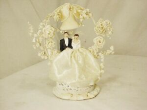 "Vtg 50's Bisque Bride & Groom Wedding Cake Topper Bell & Flowers 8"" High Fr Ship"