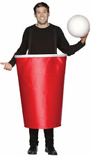 Red Beer Cup & Ball Pong Drinking Game Adult Costume Halloween Rasta Imposta