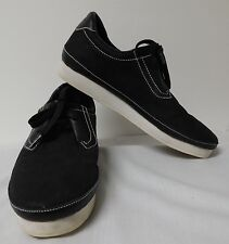 GOURMET CINQUE BLACK LEATHER & SUEDE UPPER NON SLIP WHITE RUBBER SOLE EUC SZ 9.5