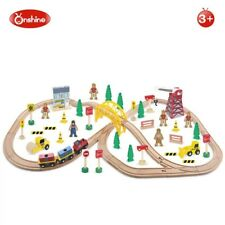Kids Children Wooden Toy Construction Train Set 70pc