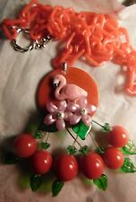 Artist Made Pink Flamingo Bakelite & Lucite Art Necklace RED Chain & Cherries