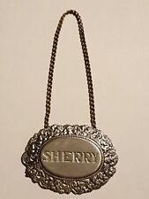 Vintage Silverplate Sherry Bottle Label