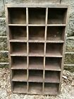 Vintage Antique Industrial Wood Drawer Hardware Store Parts Cabinet Box Crate Lg