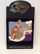 Disney Auctions LE  Gingerbread House Donald Duck Chip & Dale Pin NOC