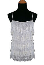Dolce & Gabbana Stretch White Knit Top with Crochet Lace Ruffles s44