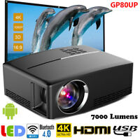 WiFi Android 6.0 Bluetooth 4K Projector UHD 3D LED Home Theater Cinema HDMI VGA
