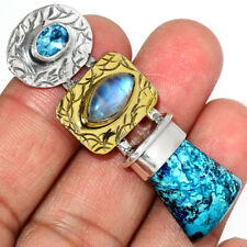 Two Tone - Azurite 925 Sterling Silver Pendant Jewelry AP195743