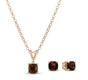 New LeVian Chocolate Quartz Strawberry Gold Electroplated SilverPendant Necklace