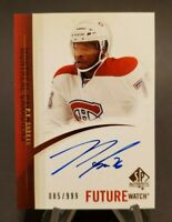 2010-11 SP Authentic Future Watch #271 P.K. Subban Hard Signed Auto 85/999