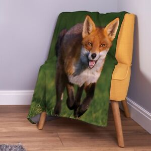 Cute Fox In A Field Design Soft Fleece Throw Blanket