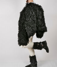 LOUIS VUITTON Shearling Mid-Calf Boots Black Size 38 / 8