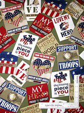 Patriotic Love My Hero Troops USA Cotton Fabric Quilting Treasures 24783-G Yard