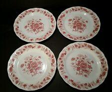 Vtg Double Phoenix Ironstone Sommerset Dinner Plates Set Of 4 Red White Japan