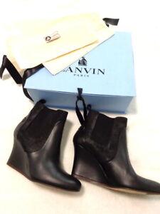 Lanvin Paris 39 - UK6 Black leather wedge heel ankle boots NWB - RRP£495 (3057