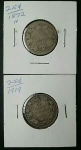 1872 and 1919 Canada 25c Silver Quarter Dollars