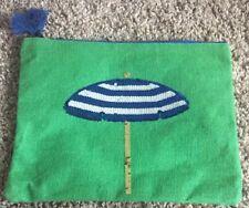 Mud Pie Green W/ Blue/White Gold Clutch Bag with Sequin Beach Umbrella Design